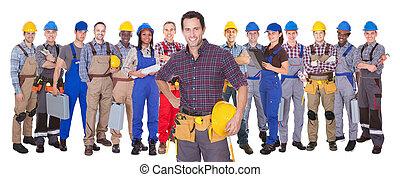 確信した, マニュアル, 労働者, に対して, 白い背景