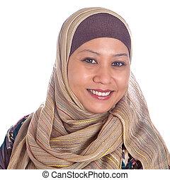 確信した, 女, 成長した, muslim, 美しい