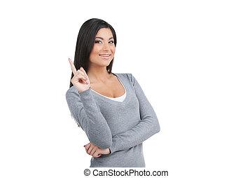 確信した, 女, 。, 背景, 指, 隔離された, 肖像画, 微笑に立つこと, 白