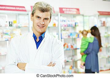 確信した, 薬局, 化学者, 人, 中に, 薬局