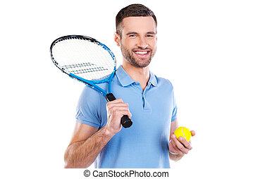 確信した, game., 保有物, に対して, 準備ができた, 若い, ラケット, 背景, 大きい男, 微笑に立つこと, 間, テニス, 白