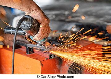 碾, 金屬, 鐵, grinder., 工業, 切, 電火花, 當時