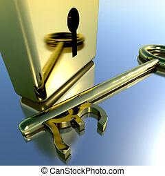 磅, 财政, 钥匙, 金子, 储蓄, 显示, 挂锁, 银行业务