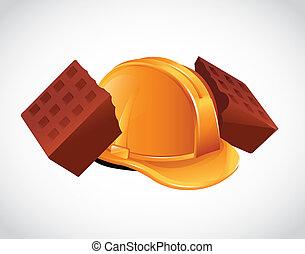 磚, 圖象, 帽子, 打破, 努力