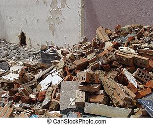 磚, 大理石, 以及, 石頭, 碎石, 在, a, 摧毀, 房子