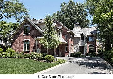 磚, 家, 由于, 圓, 石頭, 入口