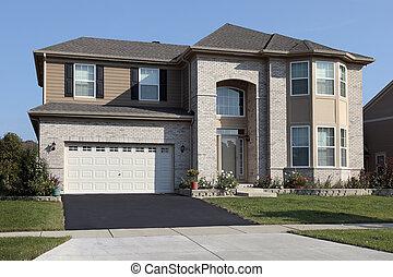 磚, 家, 由于, 拱形, 入口