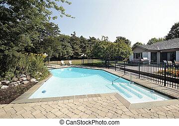 磚, 院子, 以及, 游泳池