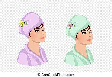 礦泉, 婦女, 頭巾, 洗澡, 頭, 使用, 程序