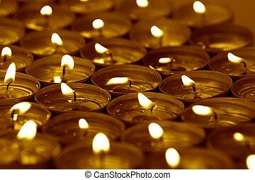 礦泉, 蜡燭