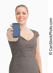 示されている, 女, ある, smartphone