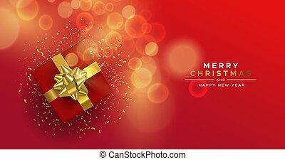 礼物, 察看, 顶端, 年, 红的盒子, 圣诞节, 新, 金卡片