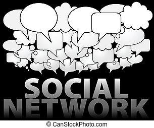 社会, ネットワーク, 媒体, スピーチ泡, 雲