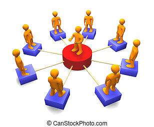 社会, ネットワーク, 3d