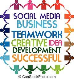 社会, ロゴ, 人々, チームワーク, 媒体