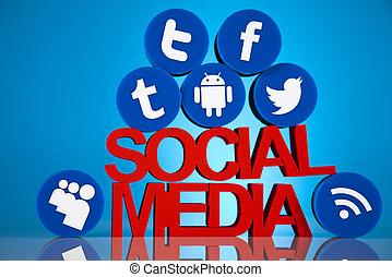 社会, 媒体, アイコン, セット