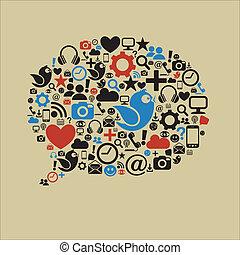 社会, 媒体, スピーチ泡, 平ら