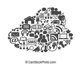 社会, 媒体, セット, 雲, アイコン