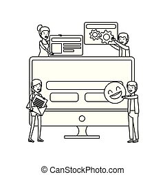 社会, 媒体, デスクトップ, グループ, 人々