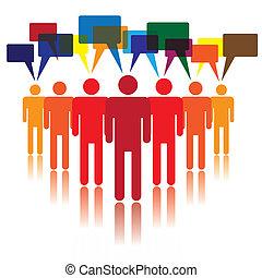 社会, 媒体, 概念, コミュニケートする, 人々