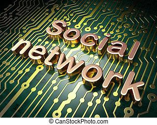 社会, 媒体, concept:, サーキットボード, ∥で∥, 単語, 社会, ネットワーク, 3d, render