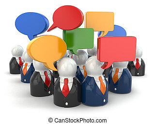社会, 媒体, concept., 人々, そして, スピーチ, bubbles.