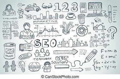 社会, 媒体, doodles, スケッチ, セット, ∥で∥, infographics, 要素, 隔離された