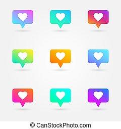 社会, 心, のように, elements., アイコン, 通知, set., カウンター, シンボル。, icons., ネットワーク, 明るい, ベクトル, イラスト, 媒体, gradients, collection., reactions., emoji