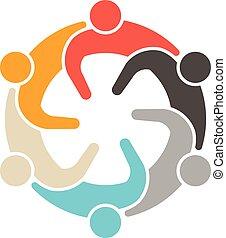 社会, logo., 人々, ミーティング, 6