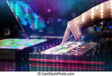 社会, midi, 音乐, 控制器, 概念, 混合, 手, 媒介