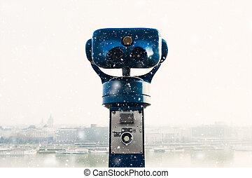 社區, 望遠鏡, 在, a, 提防