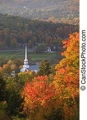 社區, 秋天,  Stowe, 忽略, 教堂
