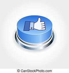 社會, 媒介, concept., 藍色, 相象, 按鈕, 在, perspective., 姆指向上