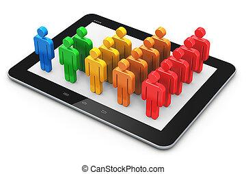 社會, 聯网, 以及, 客戶, 管理, 概念
