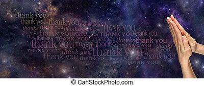 祈とう, ありがとう, 宇宙