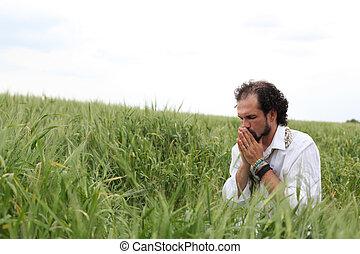 祈ること, よい, 小麦, 人, 年