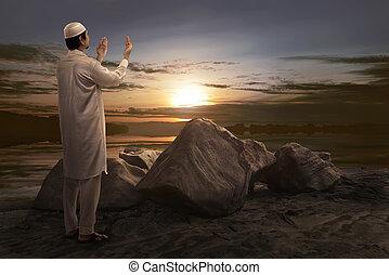 祈ること, アジア人, 若い, muslim, 人