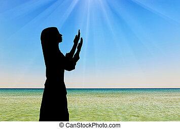 祈ること, シルエット, 女