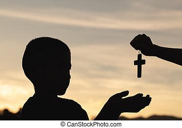 祈ること, 人, 交差点, 宗教, concept., 日の出, 手, シルエット