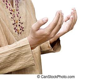 祈ること, 人, muslim, 手の 上昇
