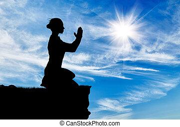 祈ること, 女 シルエット