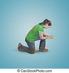 祈ること, 女, 汚い