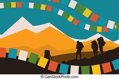 祈ること, 山, シルエット, flags., mountaineers.