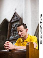 祈ること, 教会, 若者, ハンサム