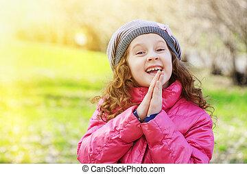 祈ること, 春, わずかしか, park., 女の子
