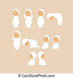祈ること, 祈る, muslim, イスラム教, 動きなさい, 子供, 漫画
