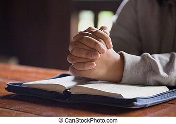 祈ること, 神, bible., 女, 手