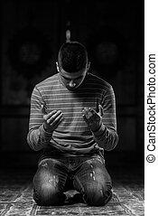 祈ること, 若い, muslim, 人