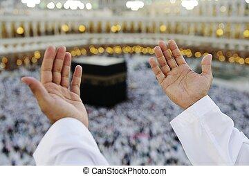 祈ること, mekkah, muslim, の上, 手