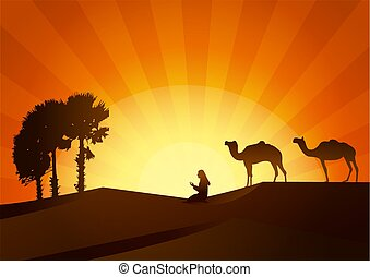 祈ること, sunset., シルエット, ラクダ, 人々
